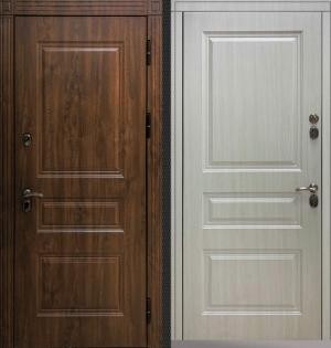 Входная уличная дверь CommandDoors СИБИРЬ ТЕРМО ПРЕМИУМ ТЁМНЫЙ ДУБ/БЕЛАЯ ЛИСТВЕННИЦА