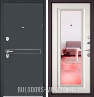 Входная дверь Бульдорс STANDART-90 Черный шелк D-4/Белый софт 9P-140, зеркало