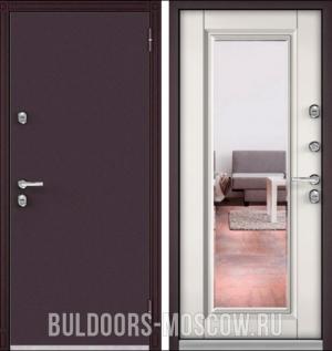 Входная дверь уличная Бульдорс TERMO-100 Дуб белый матовый 10T-140 (зеркало)