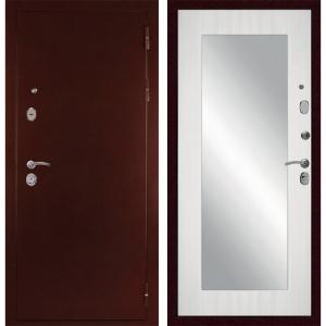 Входная дверь Дива с зеркалом С-503 (Антик медный / Сандал белый)