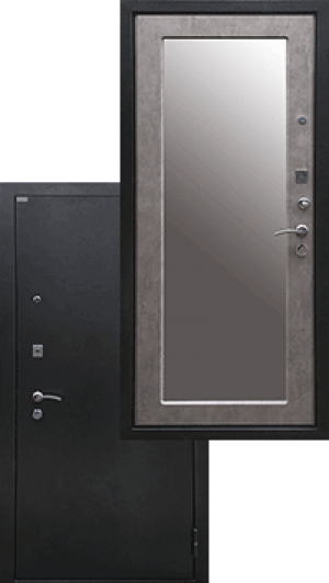 Входная дверь Ратибор Классик 3К Зеркало Светлый Бетон