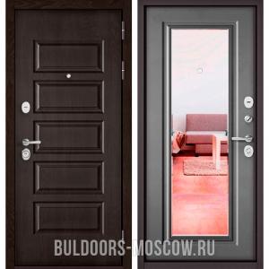 Входная дверь Бульдорс Mass-90 Ларче шоколад 9S-108/Бетон серый 9P-140, зеркало