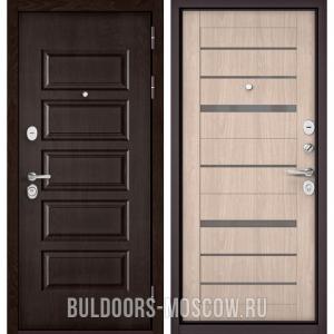 Входная дверь Бульдорс Mass-90 Ларче шоколад 9S-108/Ясень ривьера Айс CR-1, стекло серое