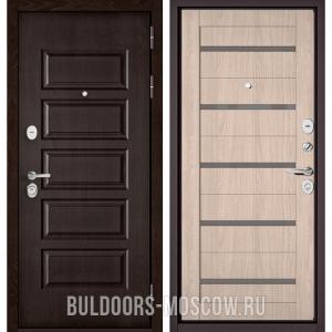 Входная дверь Бульдорс Mass-90 Ларче шоколад 9S-108/Ясень ривьера Айс CR-3, стекло серое