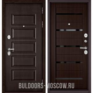 Входная дверь Бульдорс Mass-90 Ларче шоколад 9S-108/Ларче шоколад CR-3, стекло черное