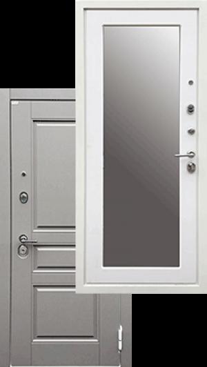 Входная дверь Ратибор Лондон 3К Зеркало Силк Сноу