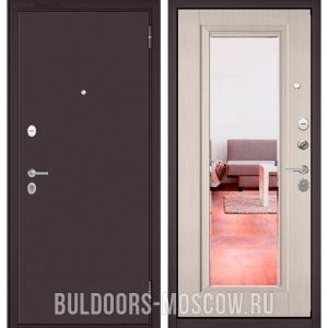 Входная дверь Бульдорс Mass-70 Букле шоколад/Ларче бьянко СК-3 (зеркало)