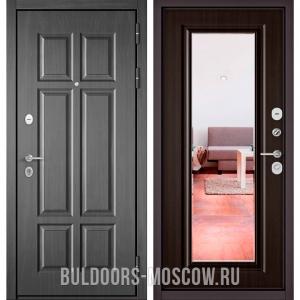 Входная дверь Бульдорс Mass-90 Бетон темный 9S-109/Ларче шоколад 9P-140, зеркало