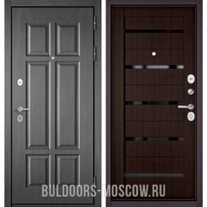 Входная дверь Бульдорс Mass-90 Бетон темный 9S-109/Ларче шоколад CR-3, стекло черное