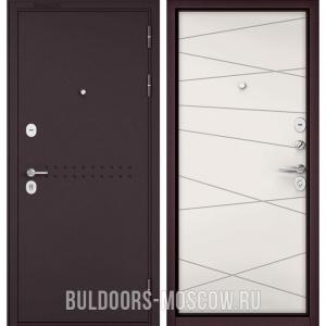 Входная дверь Бульдорс Mass-90 Букле шоколад R-4/Белый софт 9S-130