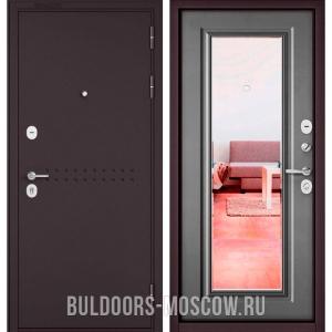 Входная дверь Бульдорс Mass-90 Букле шоколад R-4/Бетон серый 9P-140, зеркало