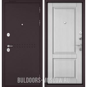 Входная дверь Бульдорс Mass-90 Букле шоколад R-4/Дуб белый матовый 9SD-1