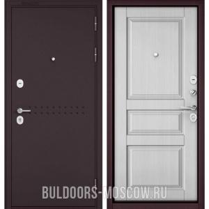Входная дверь Бульдорс Mass-90 Букле шоколад R-4/Дуб белый матовый 9SD-2
