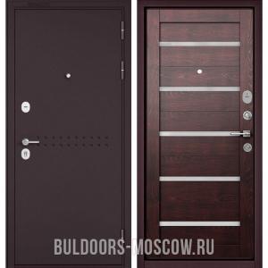 Входная дверь Бульдорс Mass-90 Букле шоколад R-4/Дуб темный CR-3