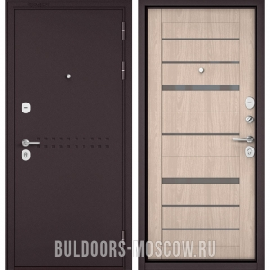 Входная дверь Бульдорс Mass-90 Букле шоколад R-4/Ясень ривьера Айс CR-1, стекло серое