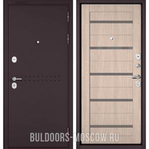Входная дверь Бульдорс Mass-90 Букле шоколад R-4/Ясень ривьера Айс CR-3, стекло серое