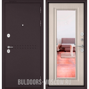 Входная дверь Бульдорс Mass-90 Букле шоколад R-4/Ларче бьянко 9P-140, зеркало