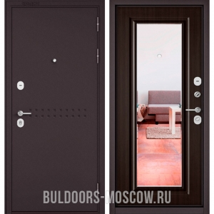 Входная дверь Бульдорс Mass-90 Букле шоколад R-4/Ларче темный 9P-140, зеркало