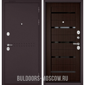 Входная дверь Бульдорс Mass-90 Букле шоколад R-4/Ларче шоколад CR-3, стекло черное