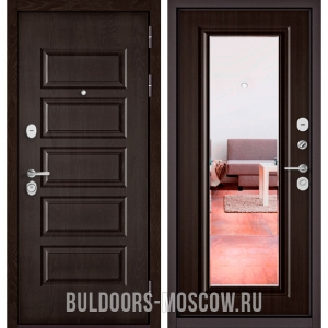Входная дверь Бульдорс Mass-90 Ларче шоколад 9S-108/Ларче шоколад 9P-140, зеркало