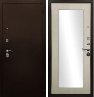 Входная дверь Ратибор Оптима 3К зеркало Лиственница беж