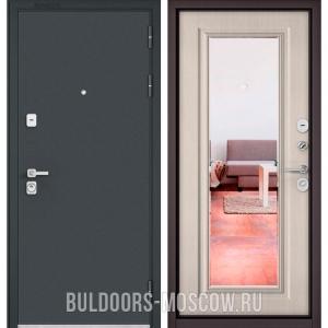 Входная дверь Бульдорс PREMIUM-90 Черный шелк/Ларче бьянко 9P-140, зеркало