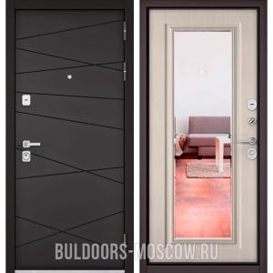 Входная дверь Бульдорс PREMIUM-90 Графит софт 9Р-130/Ларче бьянко 9P-140, зеркало