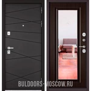 Входная дверь Бульдорс PREMIUM-90 Графит софт 9Р-130/Ларче темный 9P-140, зеркало