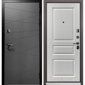 Входная дверь Бульдорс PREMIUM-90 Графит софт 9Р-130/Дуб белый матовый 9PD-2