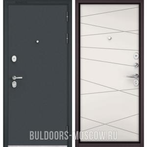 Входная дверь Бульдорс STANDART-90 Черный шелк/Белый софт 9S-130