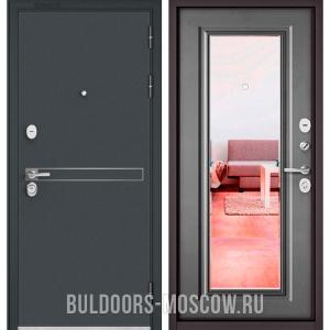Входная дверь Бульдорс STANDART-90 Черный шелк D-4/Бетон серый 9P-140, зеркало