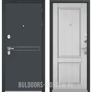 Входная дверь Бульдорс STANDART-90 Черный шелк D-4/Дуб белый матовый 9SD-1