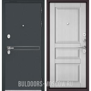 Входная дверь Бульдорс STANDART-90 Черный шелк D-4/Дуб белый матовый 9SD-2
