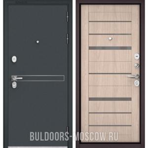 Входная дверь Бульдорс STANDART-90 Черный шелк D-4/Ясень ривьера Айс CR-1, стекло серое