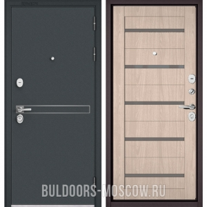 Входная дверь Бульдорс STANDART-90 Черный шелк D-4/Ясень ривьера Айс CR-3, стекло серое