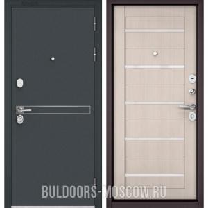 Входная дверь Бульдорс STANDART-90 Черный шелк D-4/Ларче Бьянко CR-3