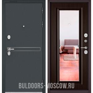 Входная дверь Бульдорс STANDART-90 Черный шелк D-4/Ларче шоколад 9P-140, зеркало