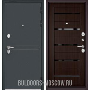 Входная дверь Бульдорс STANDART-90 Черный шелк D-4/Ларче шоколад CR-3, стекло черное