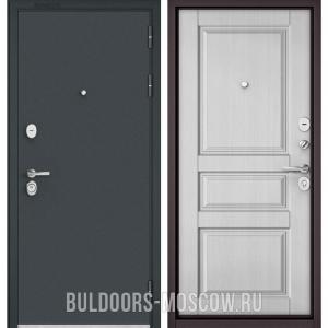 Входная дверь Бульдорс STANDART-90 Черный шелк/Дуб белый матовый 9SD-2