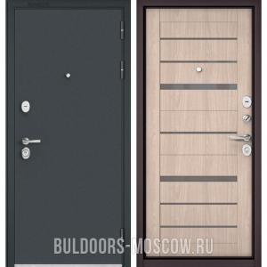 Входная дверь Бульдорс STANDART-90 Черный шелк/Ясень ривьера Айс CR-1, стекло серое