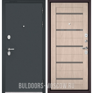 Входная дверь Бульдорс STANDART-90 Черный шелк/Ясень ривьера Айс CR-3, стекло серое