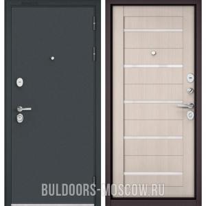 Входная дверь Бульдорс STANDART-90 Черный шелк/Ларче Бьянко CR-3