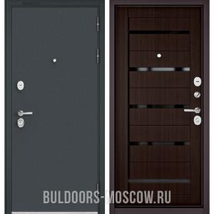 Входная дверь Бульдорс STANDART-90 Черный шелк/Ларче шоколад CR-3, стекло черное