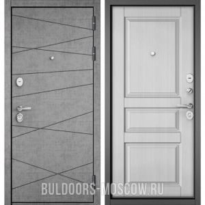Входная дверь Бульдорс STANDART-90 Штукатурка серая 9S-130/Дуб белый матовый 9SD-2