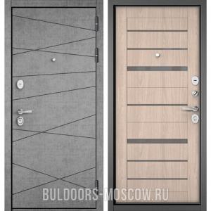 Входная дверь Бульдорс STANDART-90 Штукатурка серая 9S-130/Ясень ривьера Айс CR-1, стекло серое