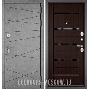 Входная дверь Бульдорс STANDART-90 Штукатурка серая 9S-130/Ларче шоколад CR-3, стекло черное