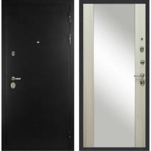 Входная дверь Дива с зеркалом С-506 Оптима (Чёрная шагрень / Дуб филадельфия крем)