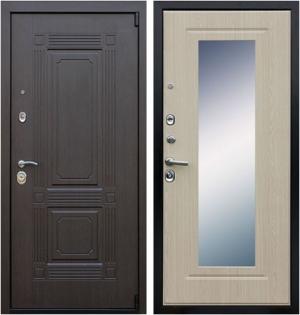 Входная дверь АСД  Викинг (с зеркалом) Беленый дуб