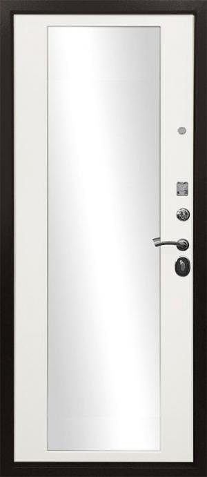 Входная дверь Ратибор Троя 3К Зеркало Белый Матовый